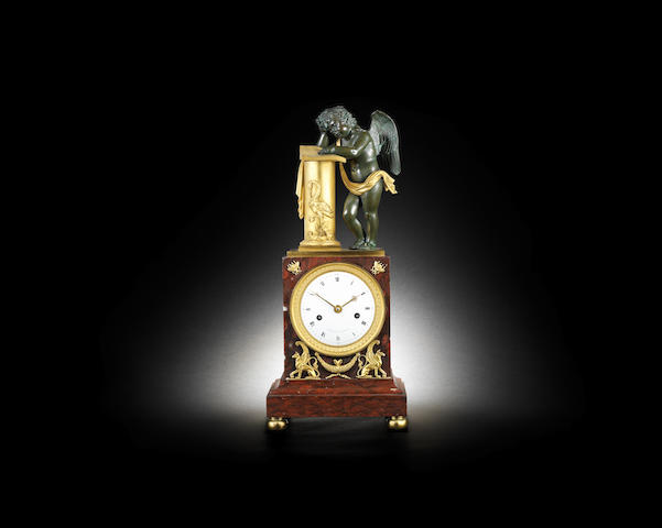 A fine early 19th century French gilt and patinated bronze and marble mantel clock, Vaillant a Paris, the movement numbered 627 Vaillant a Paris, the movement numbered 627