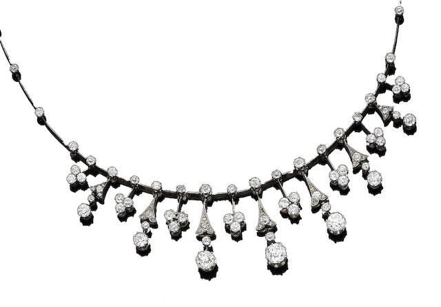 A late 19th century diamond fringe necklace,