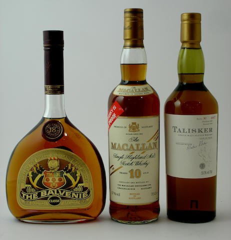 The Balvenie Classic-18 year oldThe Macallan-10 year oldTalisker-1989