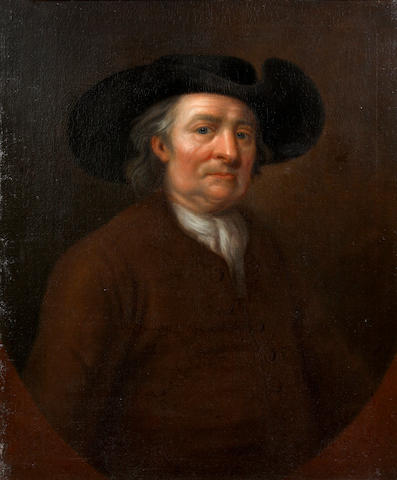 English School, early 18th Century Portrait of a gentleman, in plain brown suit and black hat in a painted oval