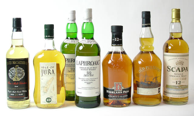 Bruichladdich-14 year old-1991Isle of Jura-10 year oldLaphroaig-10 year old (2) Highland Park-12 year oldOld Pulteney-12 year oldScapa-12 year old