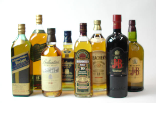 Mixed malt and blended whiskies comprising (8):