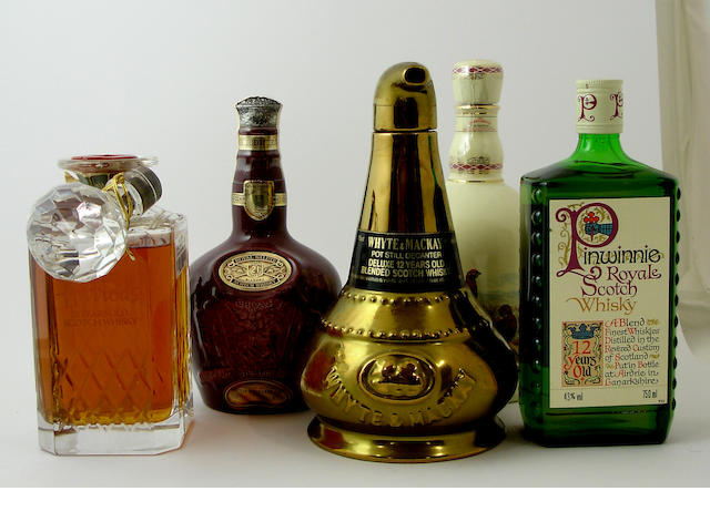 Harrods-21 year oldRoyal Salute-21 year oldWhyte & MacKay-12 year old (2) The Famous Grouse Highland Decanter (2) Pinwinnie Royale (2) Chivas Regal-12 year old