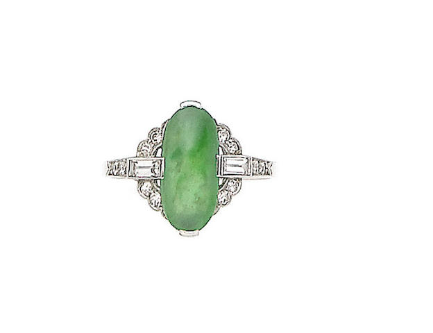 An art deco jade and diamond ring,
