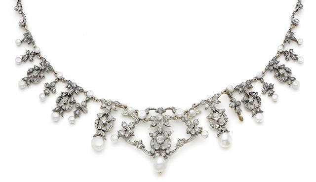 A late 19th century pearl and diamond necklace/brooch (2)