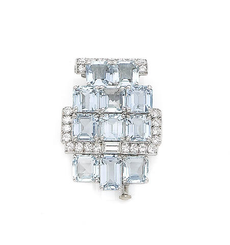 An art deco aquamarine and diamond brooch, by Cartier,