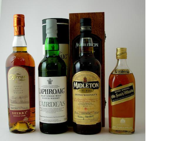 Arran-1988Laphroaig CairdeasMiddleton-Bottled 2006Johnnie Walker Black Label