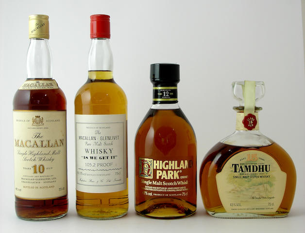 "The Macallan-10 year old<BR /> Macallan-Glenlivet ""As We Get It""<BR /> Highland Park-12 year old<BR /> Tamdhu-15 year old"