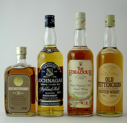 Auchentoshan-18 year old<BR /> Lochnagar-12 year old<BR /> The Edradour-10 year old<BR /> Old Fettercairn