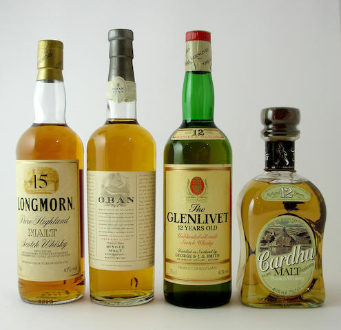 Longmorn-15 year old<BR /> Oban-14 year old<BR /> The Glenlivet-12 year old<BR /> Cardhu-12 year old