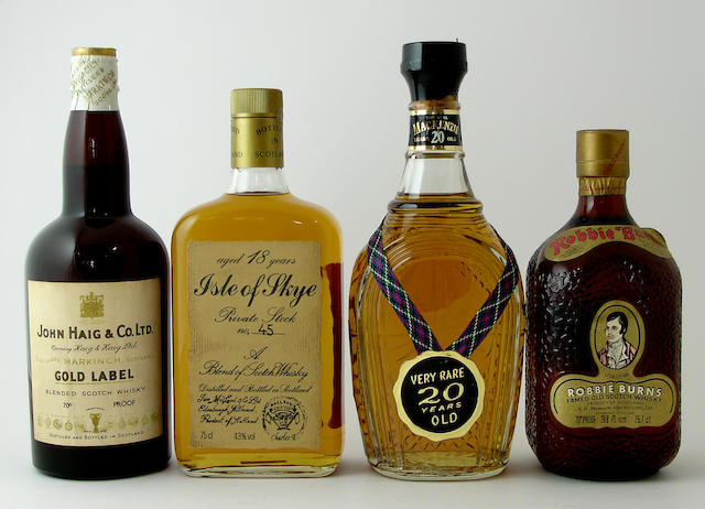 Haig Gold LabelIsle of Skye Private Stock No. 45-18 year oldThe Real MacKenzie-20 year oldRobbie Burns