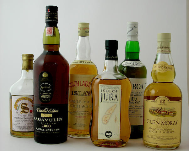 Tomatin-13 year old-1976Lagavulin-1980Bruichladdich-10 year oldIsle of Jura-10 year oldLaphroaig-10 year oldGlen Moray-12 year old