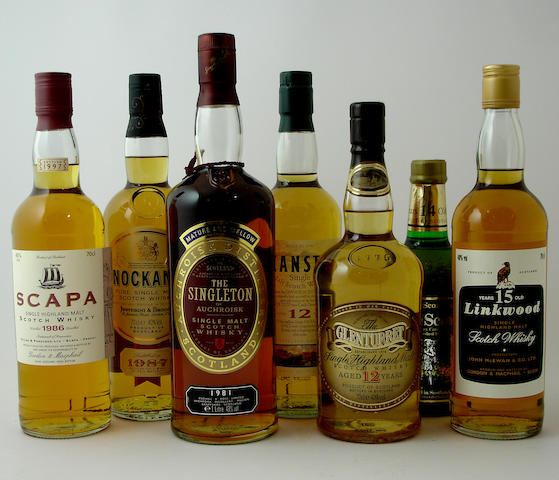 Scapa-1986Knockando-1987The Singleton of Auchroisk-1981Deanston-12 year oldThe Glenturret-12 year oldGlen Scotia-14 year oldLinkwood-15 year oldLongmorn-15 year old