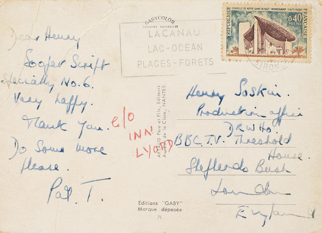 Doctor Who / Patrick Troughton: An original handwritten postcard addressed to Henry Soskin (Henry Lincoln) from Patrick Troughton regarding his authorship,  circa 1968,