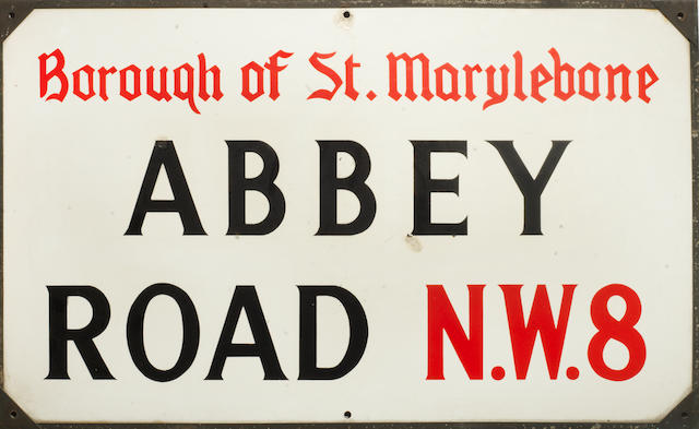 The Beatles: An Abbey Road street sign, with the original bill of sale from May 1970,