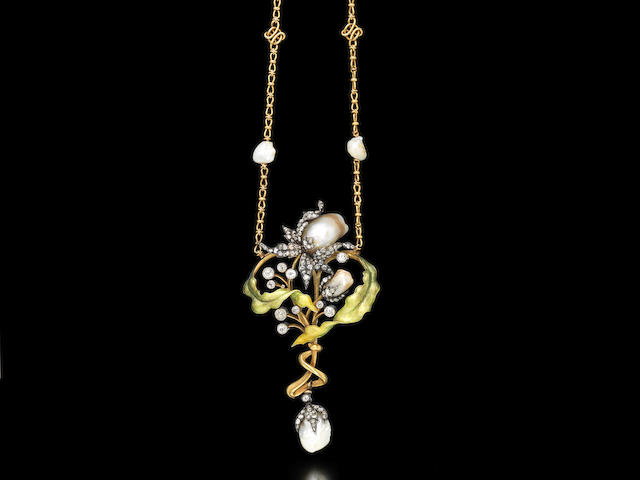 An art nouveau gold, enamel, pearl and diamond necklace, by Guillemin Frères,