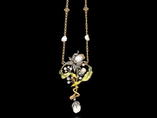 An art nouveau gold, enamel, pearl and diamond necklace, by Guillemin Frères,