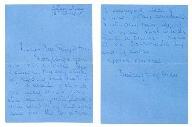 Audrey Hepburn: A handwritten autographed letter by Audrey Hepburn in blue ink,
