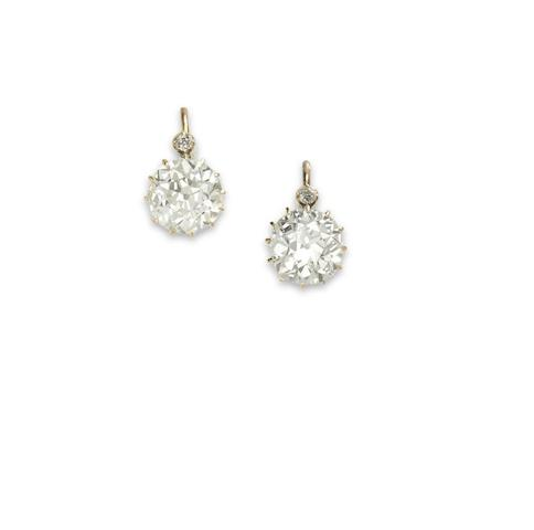 A pair of late 19th century diamond earrings