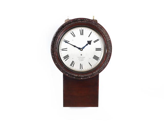 A substantial signed and dated mid 19th century carved mahogany wall timepiece the dial signed Vulliamy, London, AD 1852 and numbered 1916