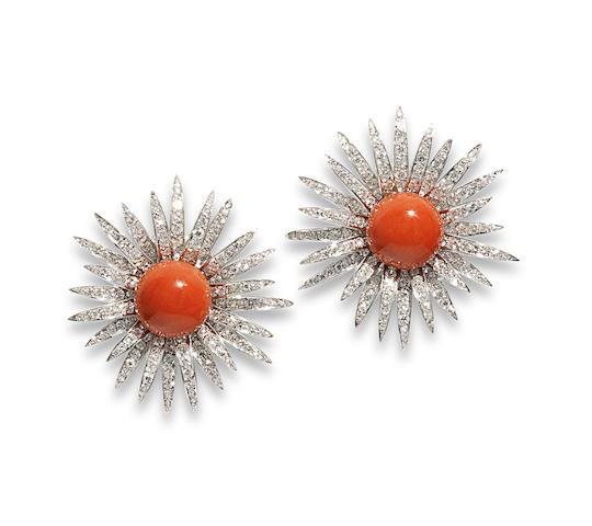 A pair of coral and diamond flower earrings, by Chantecler