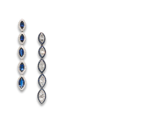 A pair of sapphire and diamond earrings, by Chantecler