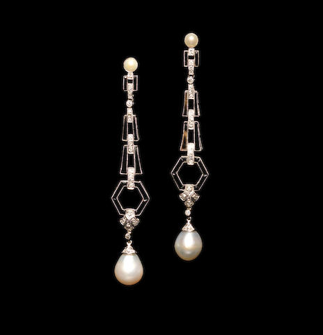 A pair of pearl, onyx and diamond pendent earrings