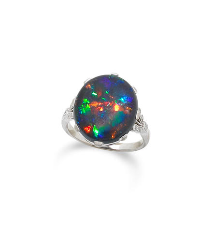 A black opal dress ring, circa 1915