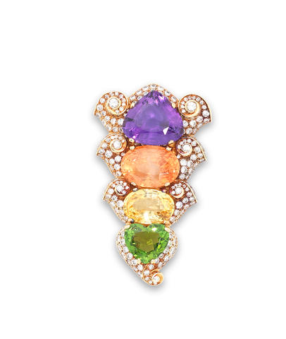 A diamond and multi gem-set brooch, by Bulgari,