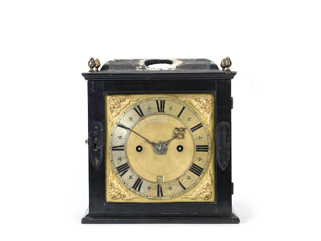A rare late 17th century ebony table clock Henry Jones, London