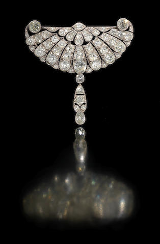 A belle époque diamond corsage ornament,