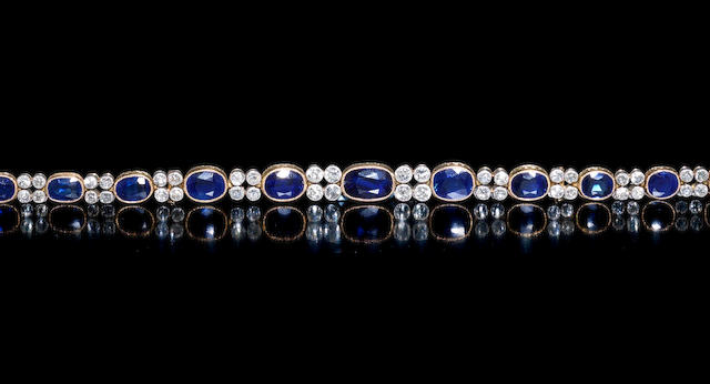 An early 20th century  sapphire and diamond line bracelet