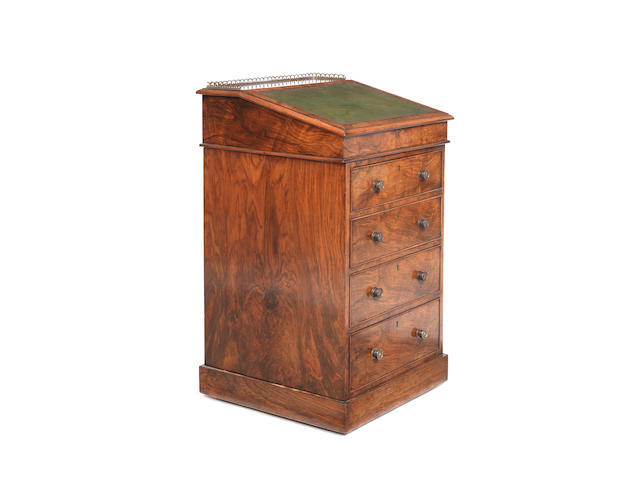 A George IV walnut davenport by Hindley & Sons