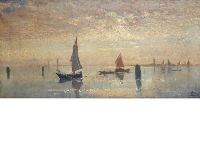Beppe Ciardi (Italian, 1875-1932) Controluce in Laguna