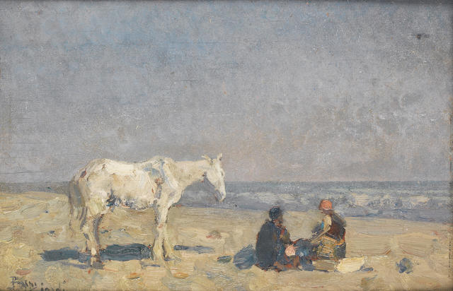 Beppe Ciardi (Italian, 1875-1932) Figures and a horse on the beach