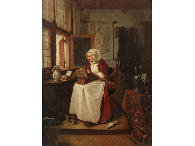 Quiringh Gerritsz. van Brekelenkam (Swammerdam circa 1622-1668 Leiden) A lace maker