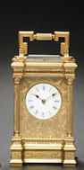 A late 19th century French engraved gilt brass grande sonnerie carriage clock Unsigned, number 1230