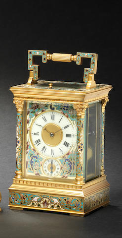 An early 20th century French champlevé enamel Chinese market carriage clock Anonymous