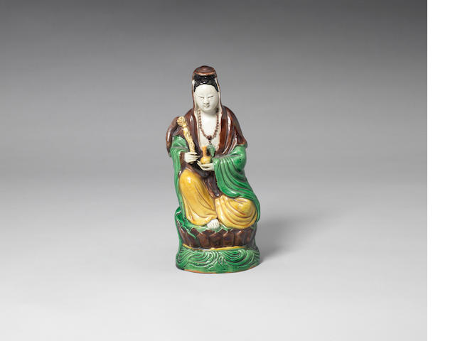 A famille verte biscuit model of Guanyin Kangxi