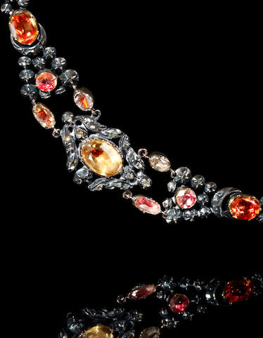 An early 19th century quartz and diamond set necklace