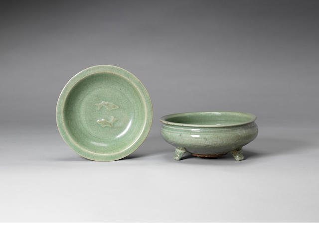 A celadon glazed tripod incense burner Ming Dynasty