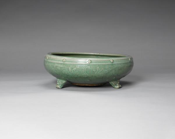 A Longquan celadon glazed tripod censer Ming Dynasty