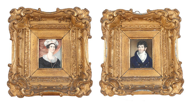 English School, circa 1820 A pair of miniatures portraying a Lady and a Gentleman: the former, wearing black dress with white lace collar, a monocle on a chain suspended from her neck, her dark hair upswept beneath a white embroidered turban; the latter, wearing dark blue double-breasted coat, white waistcoat, chemise, stock and cravat