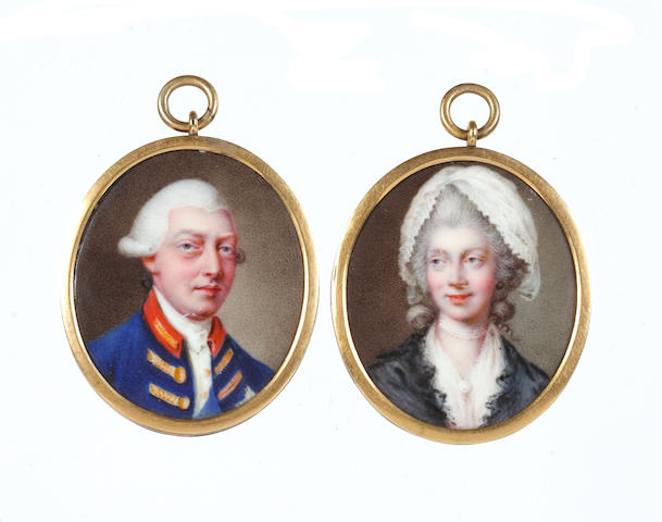 Johann Heinrich von Hurter (Swiss, 1734-1799) A pair of miniatures portraying George III (1738-1820), King of Great Britain and Ireland (1760-1801), later King of the United Kingdom (1801-1820) and Charlotte of Mecklenburg-Strelitz (1744–1818), Queen of Great Britain and Ireland (1761-1801), later Queen of the United Kingdom (1801-1818): the former, wearing blue coat with scarlet collar and gold buttons, white waistcoat, chemise and stock, blue sash of the Order of the Garter, his powdered wig worn en queue and tied with a black ribbon bow; the latter, wearing white fichu and matching handkerchief upon her powdered wig, pearl brooch and multi-stranded pearl choker, her black lace shawl draped around her shoulders
