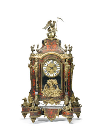 A large late 19th century French red tortoiseshell boulle clock
