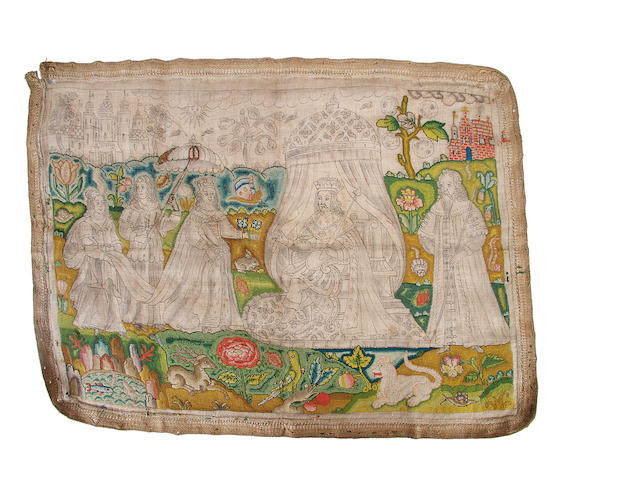 An unfinished 17th century needlework picture
