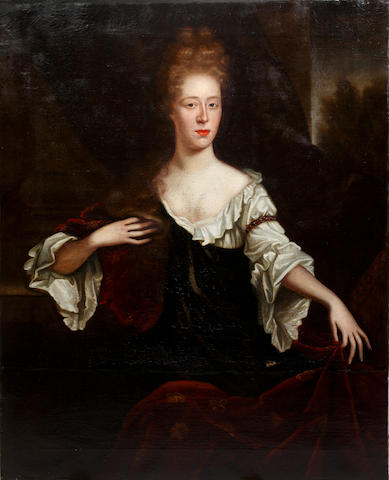 Dutch School, circa 1690 Portrait of a lady, three-quarter length, seated, wearing a red wrap over a green dress and white chemise (unframed)