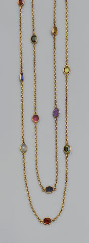 A vari gem-set long chain