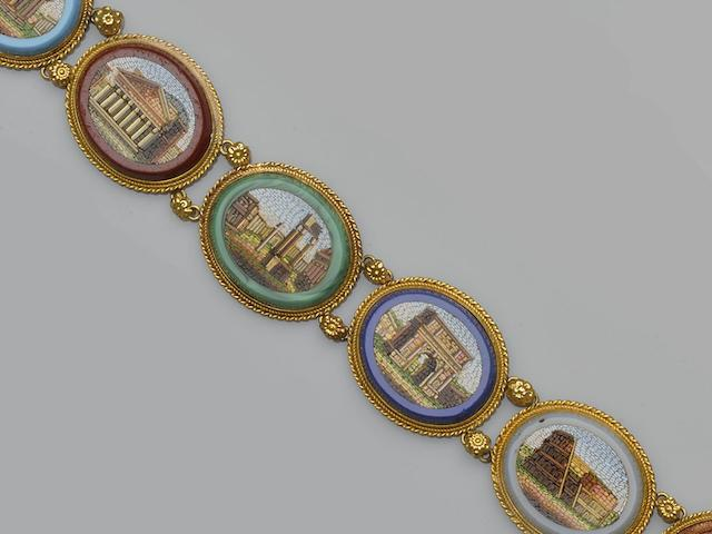 An early 19th century micro-mosaic panel bracelet, circa 1820/1830