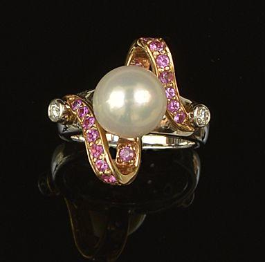 A collection of cultured pearl and gem set jewellery (3)